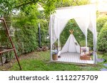 beautiful white tent and camp... | Shutterstock . vector #1112275709