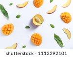peach mango fruit tile... | Shutterstock . vector #1112292101