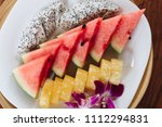 colorful summer  exotic fruit... | Shutterstock . vector #1112294831