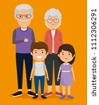 grandparents couple with kids... | Shutterstock .eps vector #1112306291