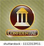 gold emblem or badge with... | Shutterstock .eps vector #1112313911