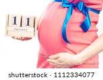 vintage photo  pregnant woman... | Shutterstock . vector #1112334077