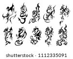 dragons tattoo ink set | Shutterstock .eps vector #1112335091