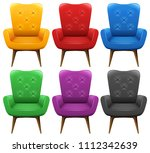a set of colourful chair...   Shutterstock .eps vector #1112342639