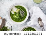 green pea and cress soup... | Shutterstock . vector #1112361371