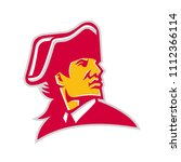 Mascot icon illustration of head of an American revolution military commander or general wearing tricorn hat looking to side on isolated background in retro style.