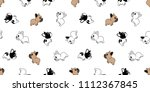 dog seamless pattern french... | Shutterstock .eps vector #1112367845