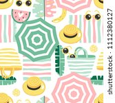 colorful seamless summer...   Shutterstock .eps vector #1112380127