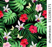 seamless tropical pattern with... | Shutterstock .eps vector #1112381171