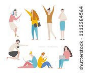 various pose and behavior woman ... | Shutterstock .eps vector #1112384564