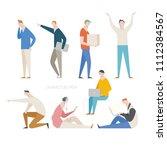 various pose and behavior man... | Shutterstock .eps vector #1112384567