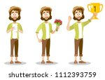 vector cartoon set of bearded... | Shutterstock .eps vector #1112393759