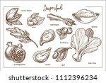 superfood collection with... | Shutterstock .eps vector #1112396234