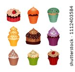 set of desserts. icons   Shutterstock .eps vector #1112403584