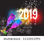 new years 2019 polygonal... | Shutterstock .eps vector #1112411591