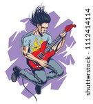 crazy rock guitar player jumps. ... | Shutterstock .eps vector #1112414114