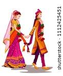 indian bride and groom in... | Shutterstock .eps vector #1112425451