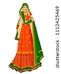 beautiful indian bride in... | Shutterstock .eps vector #1112425469