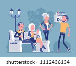 hang out party. group of young... | Shutterstock .eps vector #1112436134