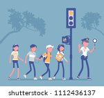 safe road crossing. policewoman ... | Shutterstock .eps vector #1112436137