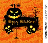 halloween grunge vector card ...   Shutterstock .eps vector #111244754