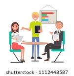 brainstorming meeting people...   Shutterstock .eps vector #1112448587