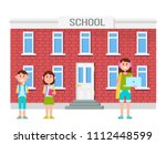 school and building with... | Shutterstock .eps vector #1112448599