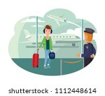 guy refugee at airport wants to ...   Shutterstock .eps vector #1112448614