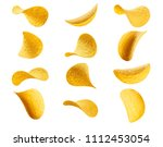 collection of potato chips ... | Shutterstock . vector #1112453054