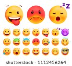 set of cute emoticons on white... | Shutterstock .eps vector #1112456264