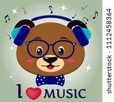 cute bear brown musician ... | Shutterstock .eps vector #1112458364