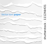 collection of white torn paper. ... | Shutterstock .eps vector #111246431
