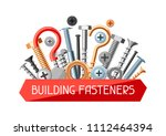 background with bolts nuts... | Shutterstock .eps vector #1112464394