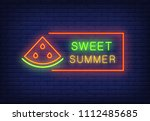 sweet summer neon text in frame ... | Shutterstock .eps vector #1112485685