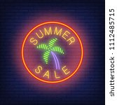 summer sale neon text with palm ... | Shutterstock .eps vector #1112485715