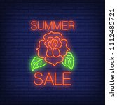 summer sale neon text and rose. ... | Shutterstock .eps vector #1112485721