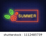 summer neon text in red frame... | Shutterstock .eps vector #1112485739
