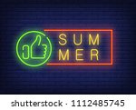 summer neon text in frame with... | Shutterstock .eps vector #1112485745
