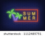 summer neon text in frame and... | Shutterstock .eps vector #1112485751