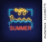 enjoy summer neon text with... | Shutterstock .eps vector #1112485775