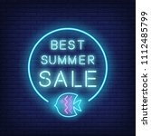 best summer sale neon text and... | Shutterstock .eps vector #1112485799
