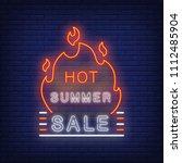 hot summer sale sign in neon... | Shutterstock .eps vector #1112485904