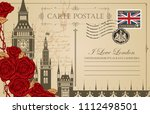 retro postcard with big ben in... | Shutterstock .eps vector #1112498501