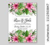 tropical summer floral wedding... | Shutterstock .eps vector #1112503847