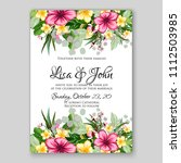 tropical summer floral wedding... | Shutterstock .eps vector #1112503985