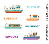 vector sea or river boats set... | Shutterstock .eps vector #1112506847