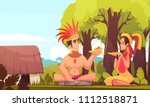 man and woman from maya family... | Shutterstock .eps vector #1112518871