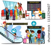multinational people in airport ... | Shutterstock .eps vector #1112524607