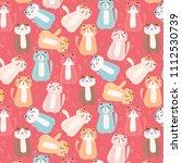 cute cat pattern background....   Shutterstock .eps vector #1112530739