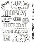hand writing set of thursday... | Shutterstock .eps vector #1112537291
